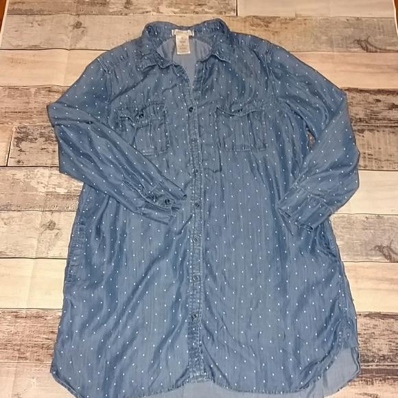 04517438f5 Chambray polkadot shirt dress by Philosophy in XL.  M 5b68341a45c8b3ca84646d7c